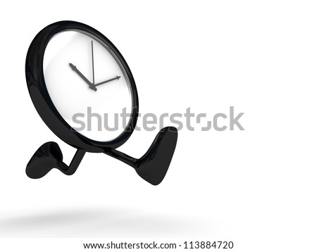 clock running, legs and feet. - stock photo
