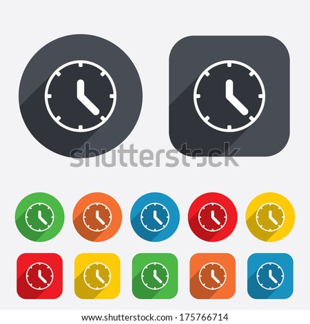 Clock sign icon. Mechanical clock symbol. Circles and rounded squares 12 buttons. - stock photo