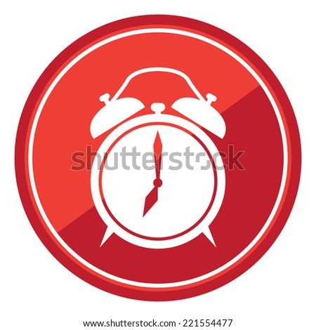 Clock Sign on Red Circle Icon, Button, Label Isolated on White