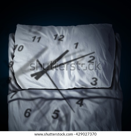 Clock stress concept as a time piece cast shadow on a pillow and bed as a stress or business deadline anxiety metaphor and sleeping anxiety in a 3D illustration style. - stock photo