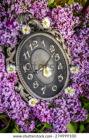 Clock surrounded by spring flowers. Shallow depth of field with selective focus on clock. Lilac flowers - stock photo