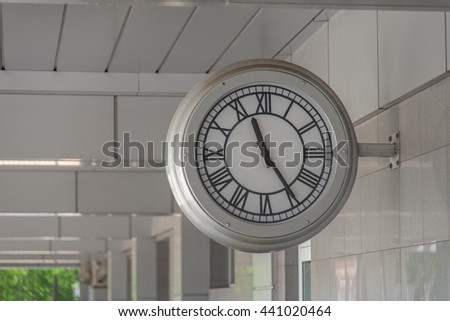 Clock. The big clock at the railway station - stock photo