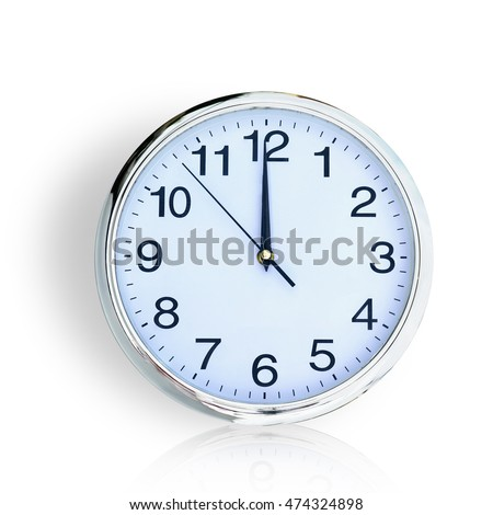 Clock , time 12 o'clock isolated on white background. This has clipping path.