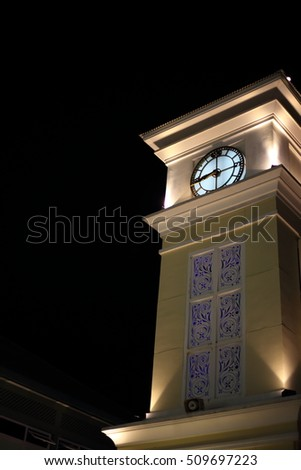 Clock Tower at night, Thailand
