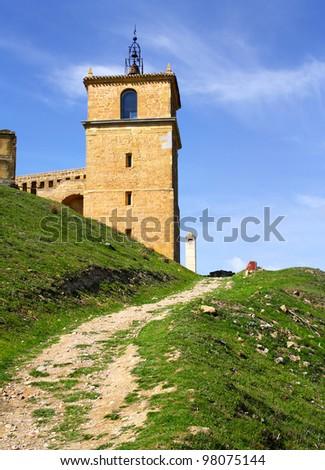 Clock Tower, castle in San Vicente de la Sonsierra, La Rioja, Spain - stock photo