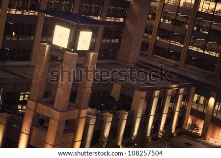 Clock Tower in downtown of Des Moines, Iowa - stock photo