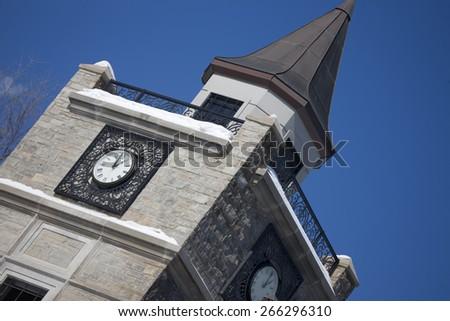Clock Tower in Niagara Falls Canada daytime - stock photo