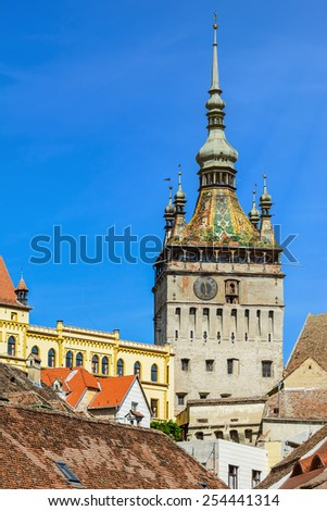 Clock Tower In The Medieval  City Of Sighisoara, Romania - stock photo