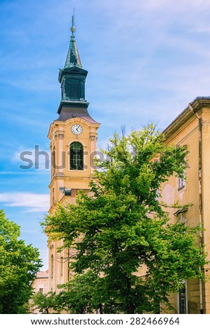 Clock Tower in the Old City of Szekesfehervar, Hungary - stock photo