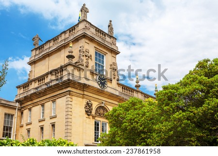 Clock Tower in Trinity College. Oxford University, Oxford, Oxfordshire, England - stock photo