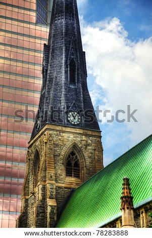 Clock tower of a church in Montreal, Canada - stock photo