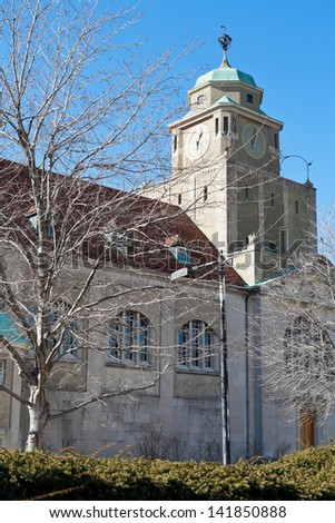 Clock tower of Adophus Busch Hall - Busch-Reisinger Museum (Germanic Museum) in Harvard, Cambridge USA - stock photo