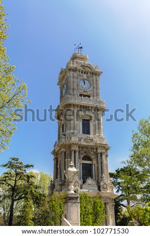 Clock tower of Dolmabahce palace, Istanbul - Turkey