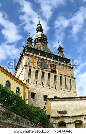 clock tower of the city from the medieval period - stock photo