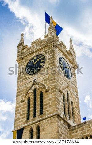 Clock tower of the Parliament Building, Bridgetown, Barbados