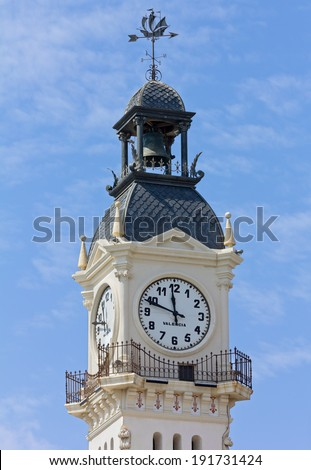 Clock Tower of the Port Authority Building in Valencia, Spain - stock photo