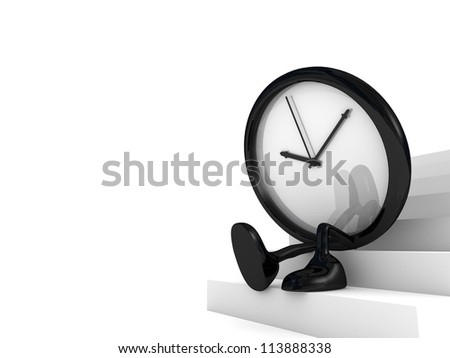 clock waiting on the stairs - stock photo