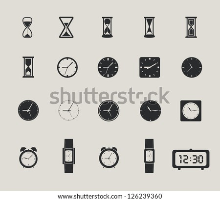 clock web icons set. raster version, vector file also available in gallery - stock photo