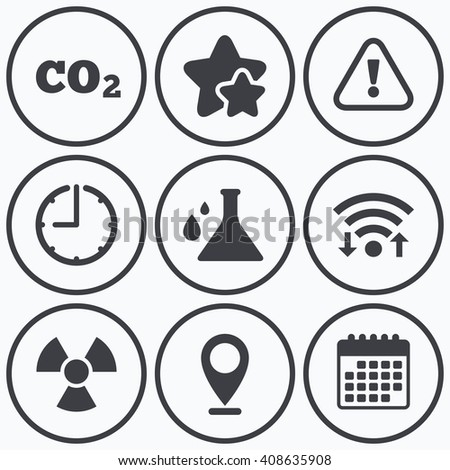 Clock, wifi and stars icons. Attention and radiation icons. Chemistry flask sign. CO2 carbon dioxide symbol. Calendar symbol. - stock photo