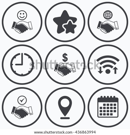 Clock, wifi and stars icons. Handshake icons. World, Smile happy face and house building symbol. Dollar cash money. Amicable agreement. Calendar symbol. - stock photo