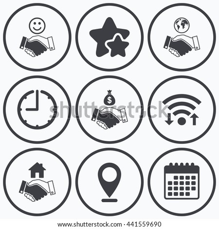 Clock, wifi and stars icons. Handshake icons. World, Smile happy face and house building symbol. Dollar cash money bag. Amicable agreement. Calendar symbol. - stock photo