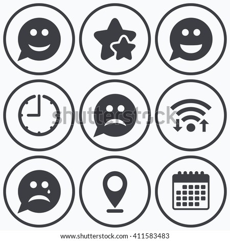 Clock, wifi and stars icons. Speech bubble smile face icons. Happy, sad, cry signs. Happy smiley chat symbol. Sadness depression and crying signs. Calendar symbol.