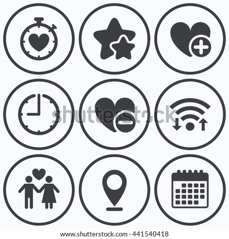 Clock, wifi and stars icons. Valentine day love icons. Love heart timer symbol. Couple lovers sign. Add new love relationship. Calendar symbol. - stock photo