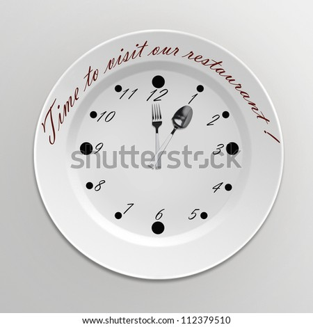 Clock with a fork and spoon and call for a restaurant.