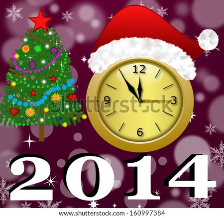 clock with a new-year cap, by a fir-tree decorated and symbols of coming year, illustration