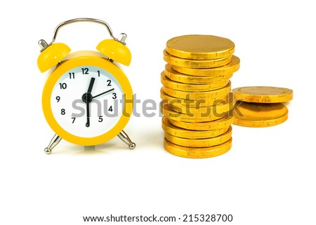 Clock with coins, time is money isolated on white background - stock photo