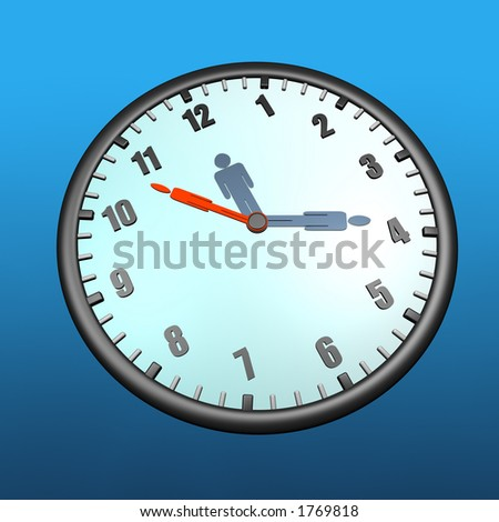 Clock with human figures in place of hands - stock photo