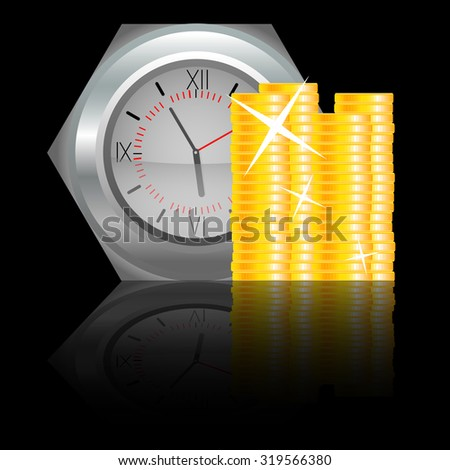 Clock with money coin. Finance time, business concept, timer and watch, clock and cash,  graphic illustration - stock photo
