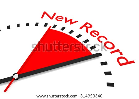 clock with red seconds hand area new record 3d illustration  - stock photo