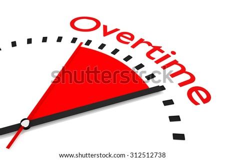 clock with red seconds hand area overtime - stock photo