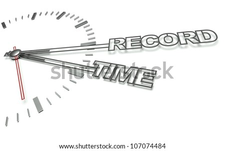 Clock with the words Record time, concept of success - stock photo