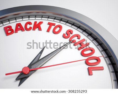 Clock with words back to school on its face
