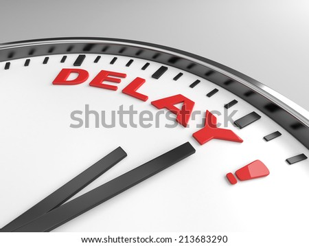 Clock with words delay on its face - stock photo