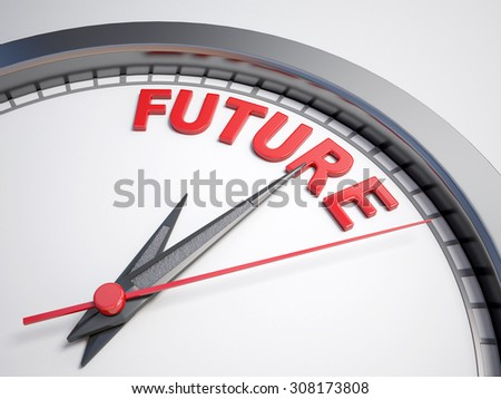 Clock with words future on its face