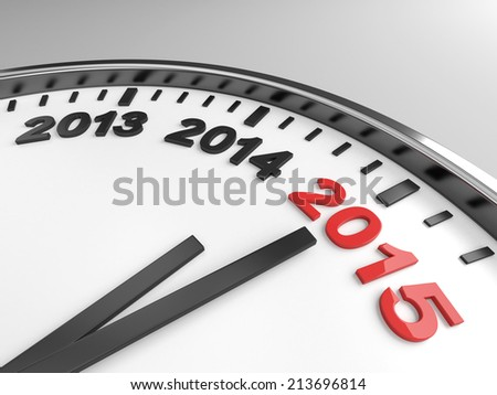 Clock with words 2015 on its face - stock photo
