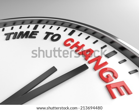 Clock with words Time for change  on its face - stock photo