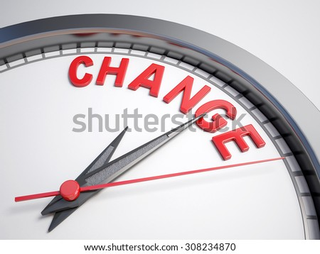 Clock with words Time for change  on its face