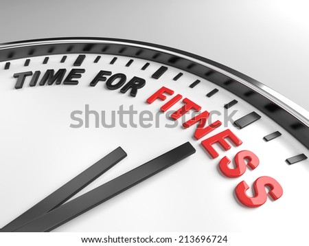 Clock with words time for fitness on its face - stock photo