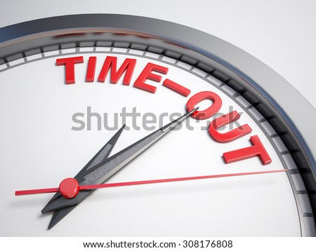Clock with words time out on its face