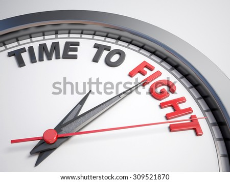 Clock with words time to fight on its face