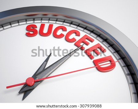 Clock with words time to succeed on its face