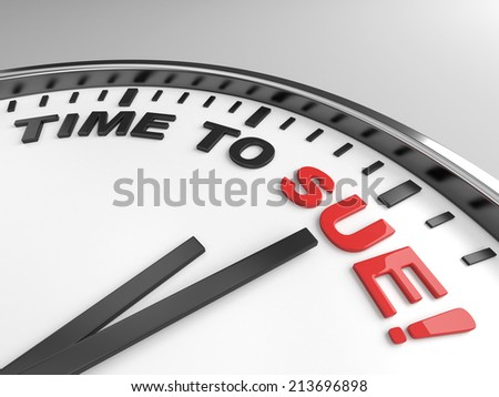 Clock with words time to sue on its face - stock photo