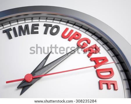 Clock with words time to upgrade on its face