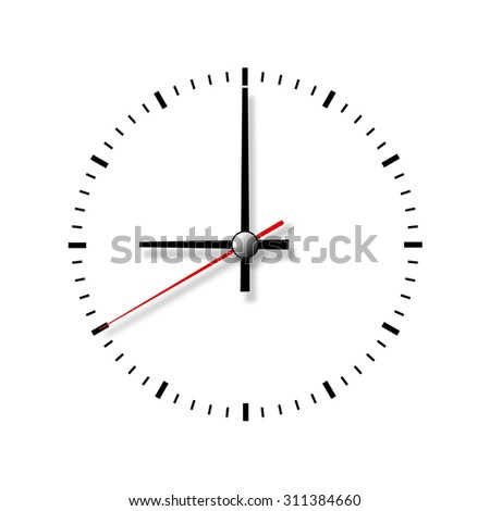 Clock without numbers isolated on white background. Closeup. - stock photo