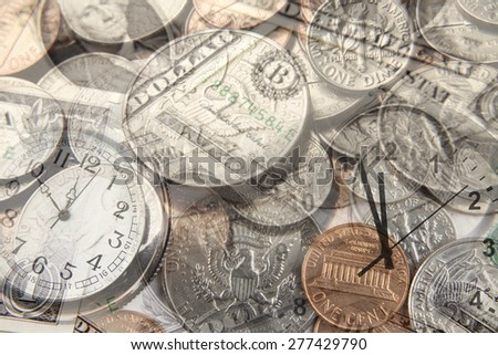 Clocks and American currency. Time is money  - stock photo