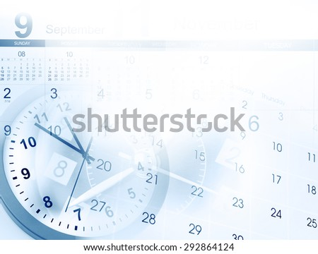 Clocks and calendars, copy space